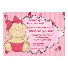 Baby Girl Diaper Pins Pink Shower Invitation