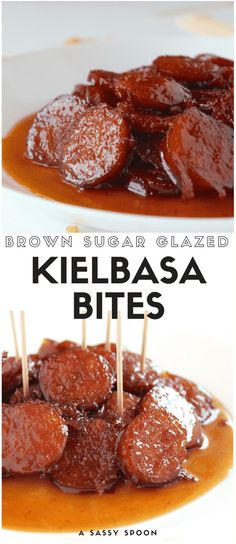 With just 3 ingredients, these Brown Sugar Glazed Kielbasa Bites will be your fa. - With just 3 ingredients, these Brown Sugar Glazed Kielbasa Bites will be your favorite appetizer. Sausage Appetizers, Finger Food Appetizers, Appetizers For Party, Appetizer Recipes, Dinner Parties, Kielbasa Appetizer, Christmas Appetizers, Finger Foods For Party, Crock Pot Appetizers