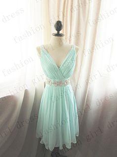 cf29bf6820258 Short Blue Bridesmaid Dress V neck knee length by fashiongirldress