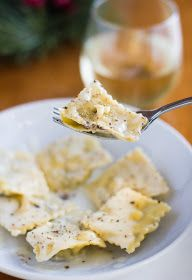 Mushroom ravioli with white wine sauce
