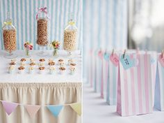 candy stripe wedding  // Suppliers: Photography: Fiona Kelly Photography // Styling & Flowers: Louise Beukes for b.loved // Popcorn Buffet: Creative Candi // Hair, makeup & nails: Lisa Hancox // Dresses: Madeline Isaac-James & Nicki MacFarlane at No. 10 Bridal // Tulle Skirt: Doris Designs // Bridal Accessories: Blackbirds Pearl // Pompoms, bunting & candy stripe accessories: Pretty Little Party Shop  // Menu:  White Knot // Venue: The Bingham