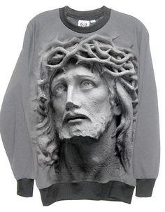 Jesus Christ Crown Of Thornes Stone Unisex Fleece Sweatshirt by IDILVICE Fashion.