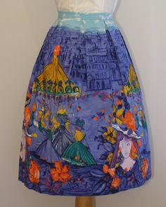 1950s novelty print skirt by Sportaville