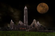 Ireland -Kilmacduagh Monastery Co. Galway during a full Moon.