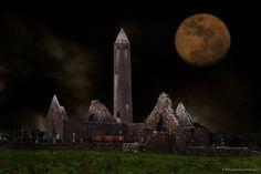 Ireland -Kilmacduagh Monastery Co. Galway during a full Moon.