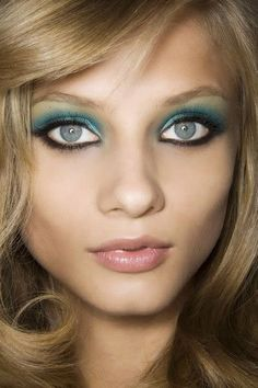 This bold colorful eye makeup uses blue and green eye shadows to create a beautiful aqua look. Description from pinterest.com. I searched for this on bing.com/images