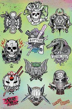 Póster Escuadrón Suicida. Tatoo  Póster con la imagen de los tatoos que llevan los protagonistas de la película Escuadrón Suicida.