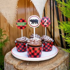 Making cupcakes manly! Plaid cupcake wrappers and grizzly bear toppers. Read all about the Little Lumberjack party theme on our blog!  https://sunshineparties.com/blogs/news/little-lumberjack-party  Grab the wrappers and toppers   https://sunshineparties.com/products/little-lumberjack-party-cupcake-wrappers-and-toppers-woodland-forest-fun