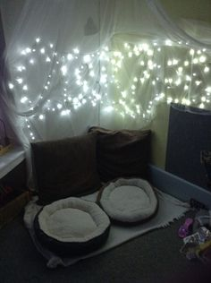 Communication Friendly Space for babies--Cat beds, cushions, net and fairy lights!