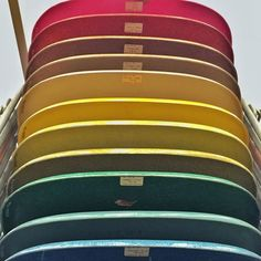 They also has all of the colors of the Eames Molded Plastic chair all stacked up on a rainbow. #vitra #modernfurniture #modern #modernchair #eames @hermanmiller @vitrafurniture