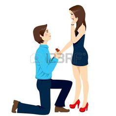 Hombre joven que propone matrimonio que da el anillo de compromiso de diamantes para mujer sorprendida hermosa photo