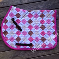 Pink and Brown argyle all purpose saddle pad by WhinneyWear  www.whinneywear.com