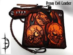 leather wallet skull concho chain biker trucker kangaroo lace beads chopper ooak
