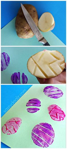 Easter egg potato stamping- 5 Easy Easter Crafts to do with Kids Easter Art, Hoppy Easter, Easter Crafts For Kids, Toddler Crafts, Crafts To Do, Preschool Crafts, Craft Kids, Easter Ideas, Holiday Crafts