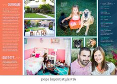 Page Layout Style 14: This profile spread is a great example of a photo dominant, contemporary and bright layout. The saturated colors add a great punch to a linear layout and the little touches like drop caps and zig-zags add understated flair that let the photos really steal the show.
