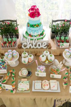 Amazing dessert table at a Peter Rabbit birthday party! See more party planning ideas at CatchMyParty.com!