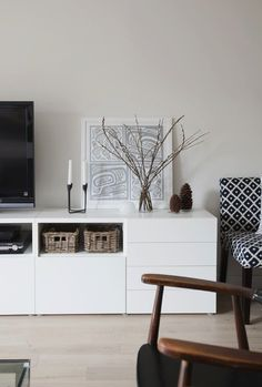 IKEA Besta unit with drawers and door. I love IKEA, all of their pieces are clean, stylish, and contemporary. Decoration Inspiration, Interior Inspiration, Living Room Tv, Home And Living, Dining Room, White Sideboard, Muebles Living, Decor Room, Home Decor