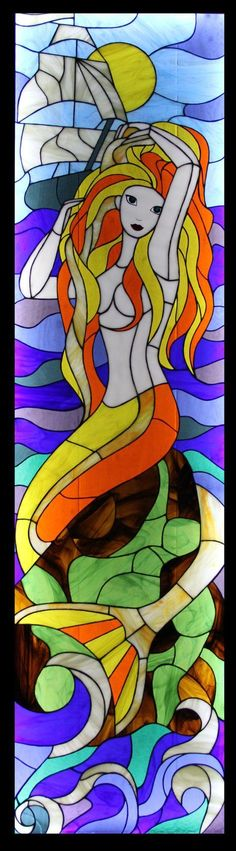 Unique large stained glass picture Mermaid by TheStainedGlassCo #StainedGlassMermaid #StainedGlassBathroom