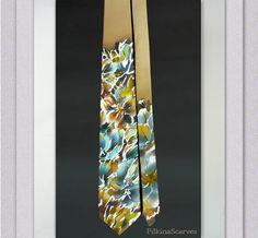 silk necktie hand painted mens tie golden ocher mens neckties groom tie silk satin mens tie father gifts for him handpainted tie unique art