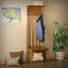 Upton Home Mission Oak Hall Tree Entry Bench | Overstock™ Shopping - Great Deals on Upton Home Benches