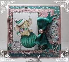 Handmade Christmas Card Using Wild Rose Studio New Releases Dies - Snow Frame and Frosty Corner (New Release) Papers - Frosted Lace (New Release) Image - Mouse on Bauble (New Release) Sentiment - Christmas Labels Downrightcrafty