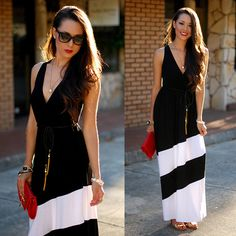 Trendy Blendy Black And White Dress, Daily Look Red Clutch, Hello Beautiful White Bracelet