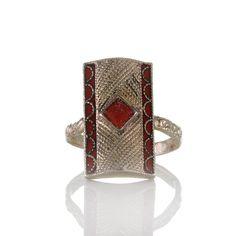 Antiker Art déco Theodor Fahrner Ring mit dekorativen Ornamenten aus Silber 935, Emaille und Koralle