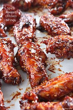 The first time I tried spicy Korean chicken wings was with my family where a Korean fried chicken franchise had just opened its shop in Jakarta back in 2013 or It was the most delicious thing ever, and each of us polished off at least 10 wings per Spicy Korean Chicken, Korean Chicken Wings, Cooking Chicken Wings, Chicken Wings Spicy, Chicken Wing Recipes, Korean Chicken Marinade, Asian Wings, Chicken Gravy, Roasted Chicken