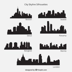 City skyline silhouettes pack Premium Ve. Godzilla Party, Godzilla Birthday Party, Superman Birthday Party, Batman Party, Festa Pj Masks, Skyline Silhouette, Bear Party, Mask Party, Birthday Party Decorations