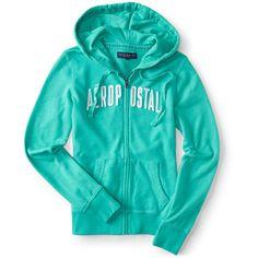 Aeropostale Aéropostale Full-Zip Hoodie ($16) ❤ liked on Polyvore featuring tops, hoodies, aquarium, blue hooded sweatshirt, lightweight hooded sweatshirt, lightweight hoodie, kangaroo pocket hoodie and full zip hoodie