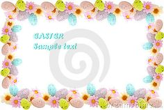 Easter frame made of colorful daisies and eggs isolated on white.
