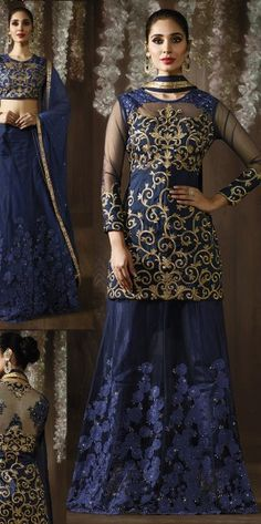 Navy Blue Reception Wear Anarkali Suit With Embroidered Work