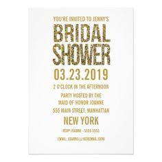 White Gold Glitter Typography Bridal Shower Invite