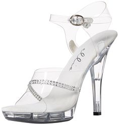 ELLIE M-JEWEL 5' Heel Clear Rhinestone Sandal, Clear ** Details can be found by clicking on the image.