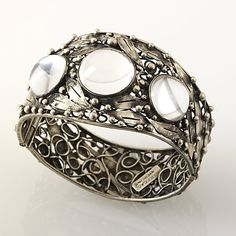 Mary Gage Arts and Crafts silver and crystal cuff. View 2.