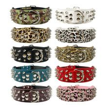 """2"""" Wide Studded Leather Dog Collars for Pitbull Boxer Mastiff German Shepherd S/M/L/XL 6 Colors(China (Mainland))"""