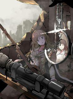 Anime Military, Military Art, Dark Art Illustrations, Illustration Art, Chica Anime Manga, Kawaii Anime, Guerra Anime, Military Drawings, Anime Weapons