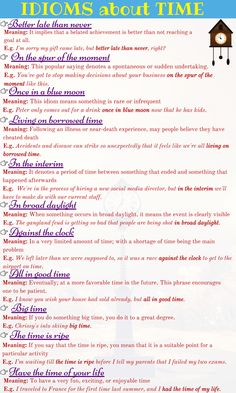12 Useful Idiomatic Expressions with TIME in English English Vocabulary Words, Learn English Words, English Phrases, English Idioms, English Writing, English Grammar, Academic Vocabulary, Vocabulary Activities, Preschool Worksheets