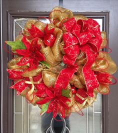 Gold with Red Christmas Deco Mesh