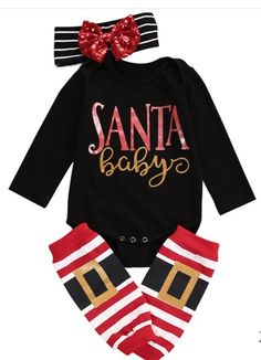 Gold sparkly Santa Baby Christmas Onesie set with headband & leg warmers! #sponsored