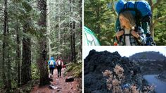"""Clockwise from left: hikers on a trail that leads to Tom, Dick and Harry Mountain in Oregon, where a scene from the movie """"Wild"""" was filmed; Reese Witherspoon in the movie; a view of Newberry National Volcanic Monument, near where another portion of the movie was filmed."""