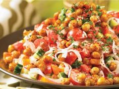 Salad with some staying power: Sauté chickpeas for chunky salad with peppers