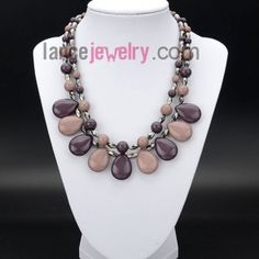 Retro necklace with acrylic beads in drop shape