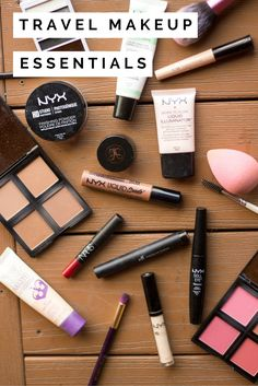 Picking what makeup to travel with can be tricky - here are my travel makeup essentials. Most of it (besides the Nars lipstick and Anastasia Brow Gel) is made up of drugstore products that are super affordable. Then if you happen to lose your travel makeup, it can easily be replaced! Click through to read the full post and get the details on my drugstore travel makeup essentials!