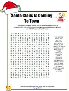 Santa Claus Is Coming To Town Word Search - printable word search puzzle for Christmas Christmas Word Search, Christmas Puzzle, Christmas Words, Christmas Colors, Christmas Projects, Christmas Holidays, Christmas 2017, Christmas Ideas, Xmas Games