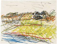 Frank Auerbach (British, b. 1931), Primrose Hill. Pencil, oil pastel and felt tip, 22.5 x 28 cm.