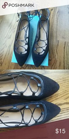 Black Flats ✴ Antonio Melani Style : Willeah....Black Suede ...Gently loved...comes with box.... Lace up flats... ANTONIO MELANI Shoes Flats & Loafers