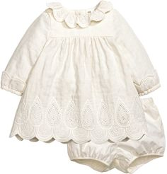 H&M - Dress and Puff Pants - Natural white - Kids