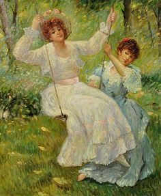 gervais, paul jean - The Swing Toulouse, Gervais, Amber Tree, Pond Fountains, Shade Trees, Art Themes, Flower Fashion, Jouer, Kids Playing