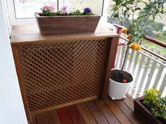 Beautiful wood on this cover for the outdoor unit of a ductless system, especially if it on a small patio, looks like a piece of furniture. Small Balcony Design, Small Balcony Decor, Small Patio, Air Conditioner Cover, Commercial Interior Design, Sweet Home, Bedroom Decor, New Homes, Facade